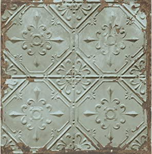 A-Street Prints 2701-22331 Tin Ceiling Distressed Tiles, Teal