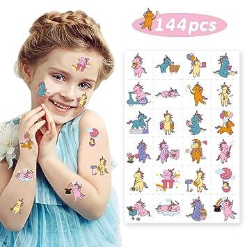 Amazon.com: Unicorn Temporary Tattoos for Kid– 144pcs Tattoos ...