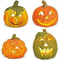 Matches21 Kleine Halloween-pompoenen van klei herfstdecoratie set van 4 decoratieve inkorten met griezelige brazen…