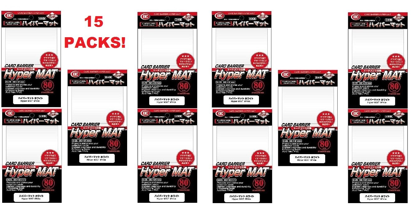 KMC Hyper Matte Sleeves White ×15 Sets (15 Packs/total 1200 Sheets) ( Japan Import )