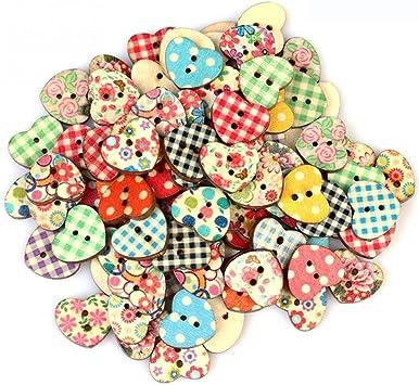 100pcs//set Sewing Craft Wooden Buttons Heart-shaped Design Buttons New