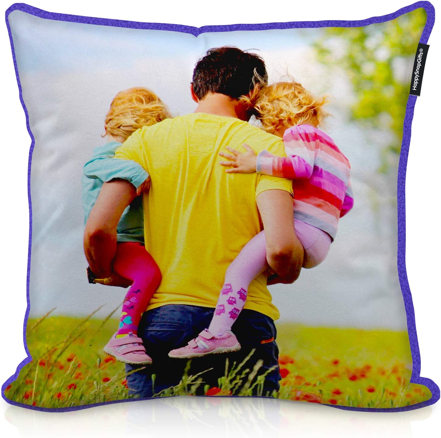 HappySnapGifts Personalised Photo Cushion Featuring Your Photo Cotton Fabric - All Natural, Square 25cm x 25cm
