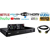 LG BP350 Blu-ray Disc & DVD Player Full HD 1080p Upscaling with Streaming Services, Built-in Wi-Fi, Smart HI-FI-Compatible, Bundle with Interconnect Products High Speed HDMI Cable Included
