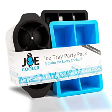 Joe Cooler Party Pack Silicone Ice Cube Molds, 3 Pack of Different Ice molds, Double Large Sphere Ice Ball Mold, Large Block Ice mold, Regular Block Ice Mold, Makes 23 Cubes!