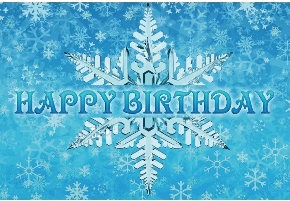 DaShan 8x6ft Polyester Christmas Winter Ice Frozen Snowflake Backdrop Winter Wonderland Birthday Frozen Baby Shower Photography Background Newborn Baby Wall Decor Christmas New Year Kids Photo Props