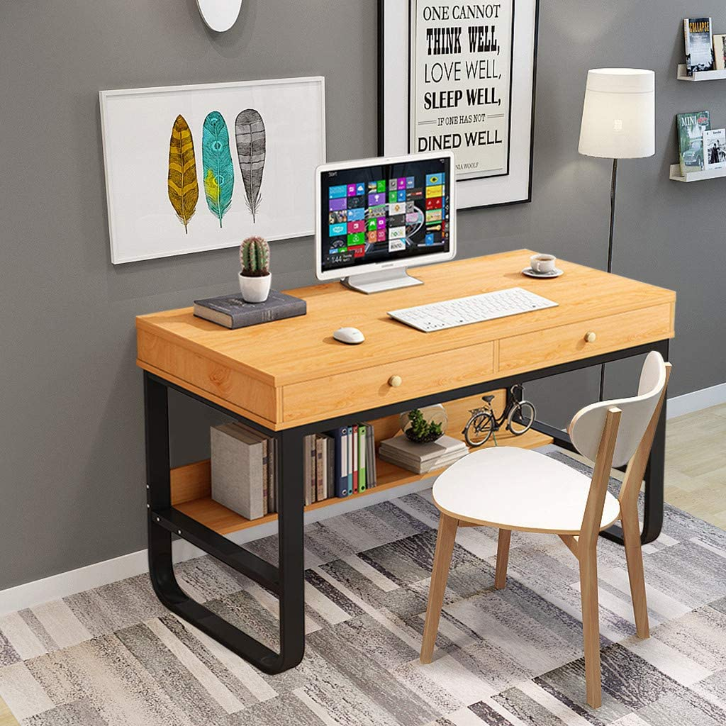 Summitglory Home Office Furniture Sets Desktop Computer Desk With 2 Drawers Multi Layer Storage Computer Gaming Table Bedroom Laptop Study Table Bookcase For Kid Room Bedroom Living Room