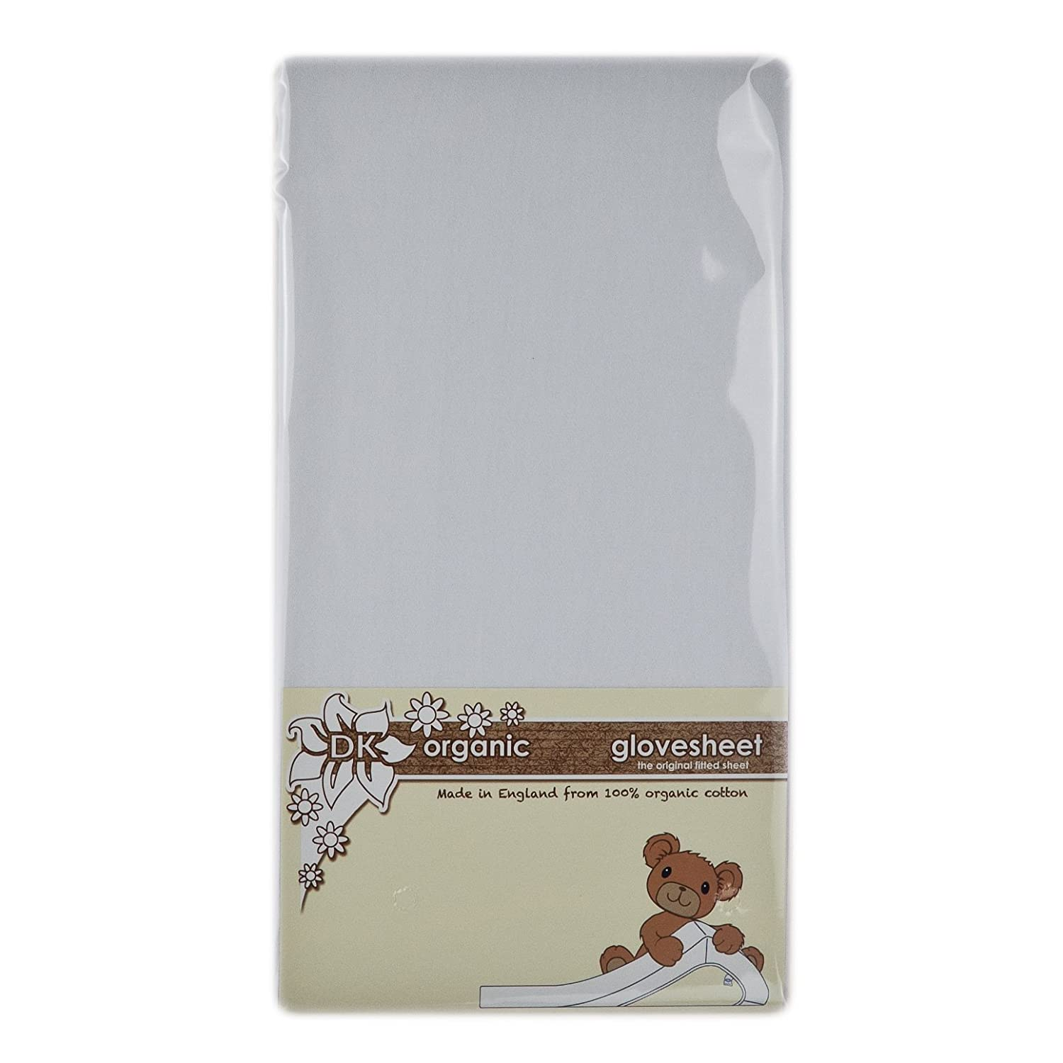 DK Glovesheets 100% Organic Cotton Fitted Cotbed Sheet (White, approx. 70x140cm) CB Org