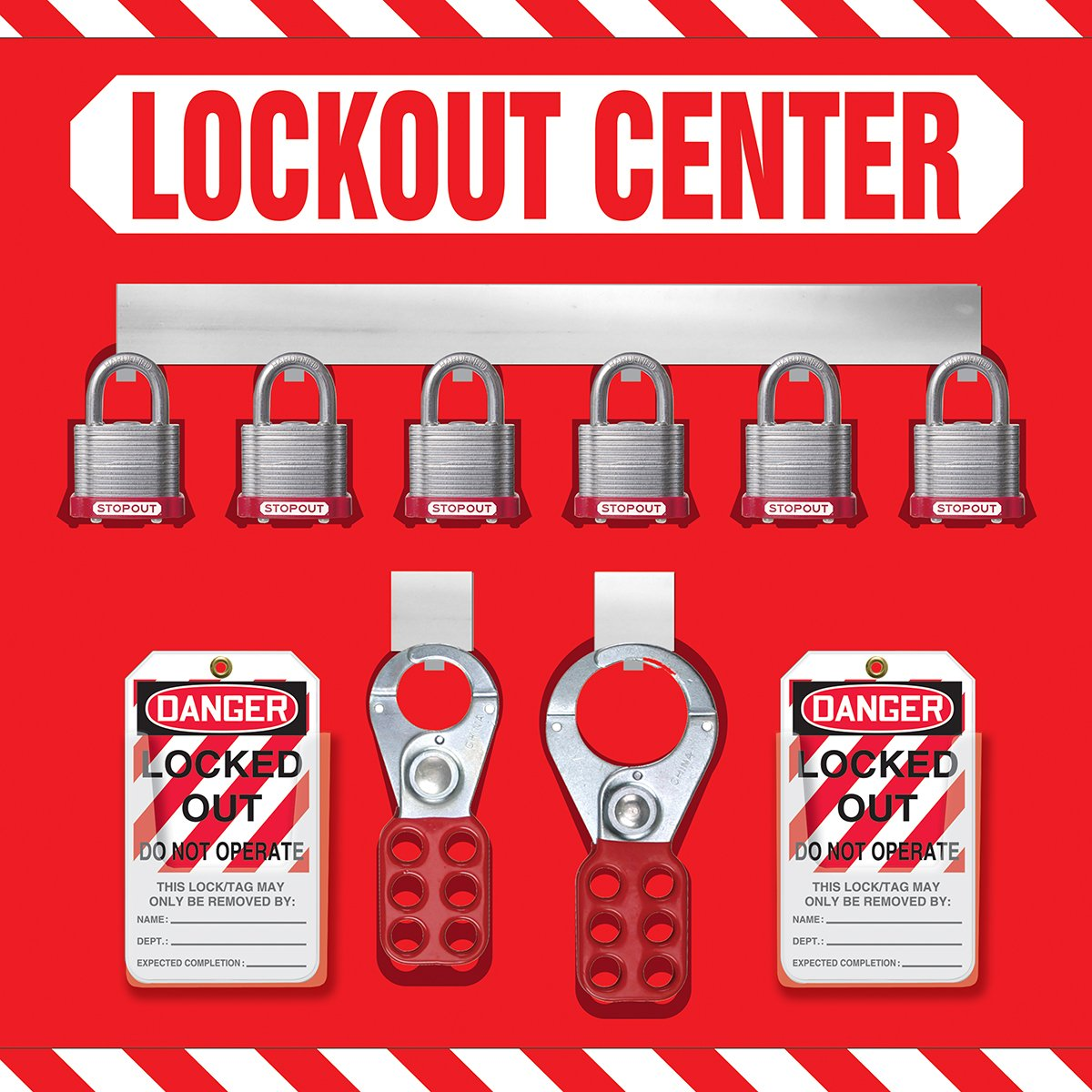 Accuform Signs KST814 STOPOUT Lockout Store-Board with Kit, 6-Padlock, 14'' Length x 14'' Width, Aluminum, Includes 6 Steel Padlocks with 3/4'' Shackle, 10 HS-Laminate Lockout Tags, 10 Plastic Ties, 1 Scissor Hasp with 1'' Opening, 1 Scissor Hasp with 1-1/2''  by Accuform Signs