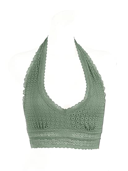 874671699eedb Image Unavailable. Image not available for. Color  Floral Lace Halter Bra  Bralette Top Bustier Wireless (Oil-Green ...