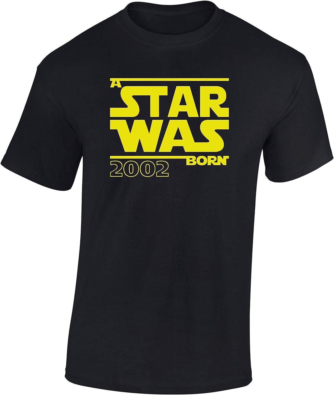 Star Was Born 2002 - Regalo de cumpleaños para Hombre-s y Mujer-es - 18 años - Dieciocho - Camiseta Divertida - Fun-Shirt - Humor - Unisex - Birthday - Annata - Mayoría