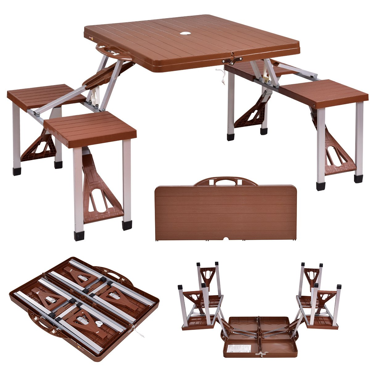 Giantex Portable Folding Picnic Table with Seating for 4 Garden Party Camping Time Design (Brown) by Giantex (Image #2)