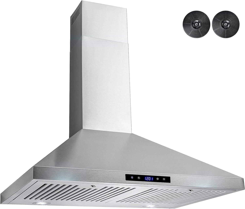 AKDY 30 pulgadas. Campana de montaje en pared de cocina en acero inoxidable con LED y control táctil: Amazon.es: Grandes electrodomésticos