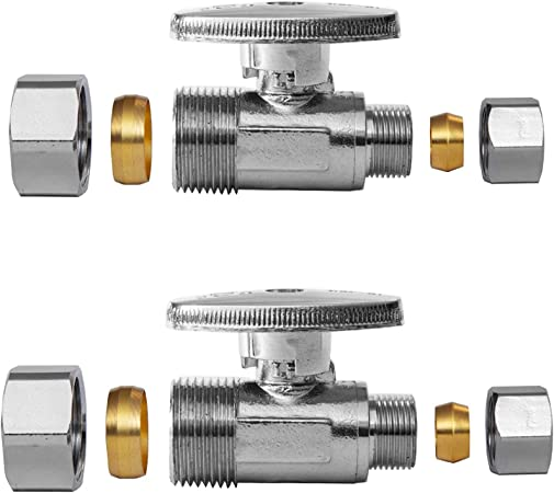 1//4-Turn Lead Free-2 Pieces 5//8 OD Pack of 2 Compression x 3//8 OD EFIELD Angle Stop Valve 1//2 Nominal