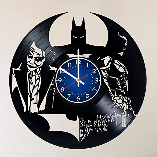 CAKE TOPPERS COMPANY Dark Knight Joker Batman Movie Characters Handmade Vinyl Record Wall Clock HANDCRAFTED 12 inches made from VInyl Record best decor for your kids bedroom gift for women ANT MAN