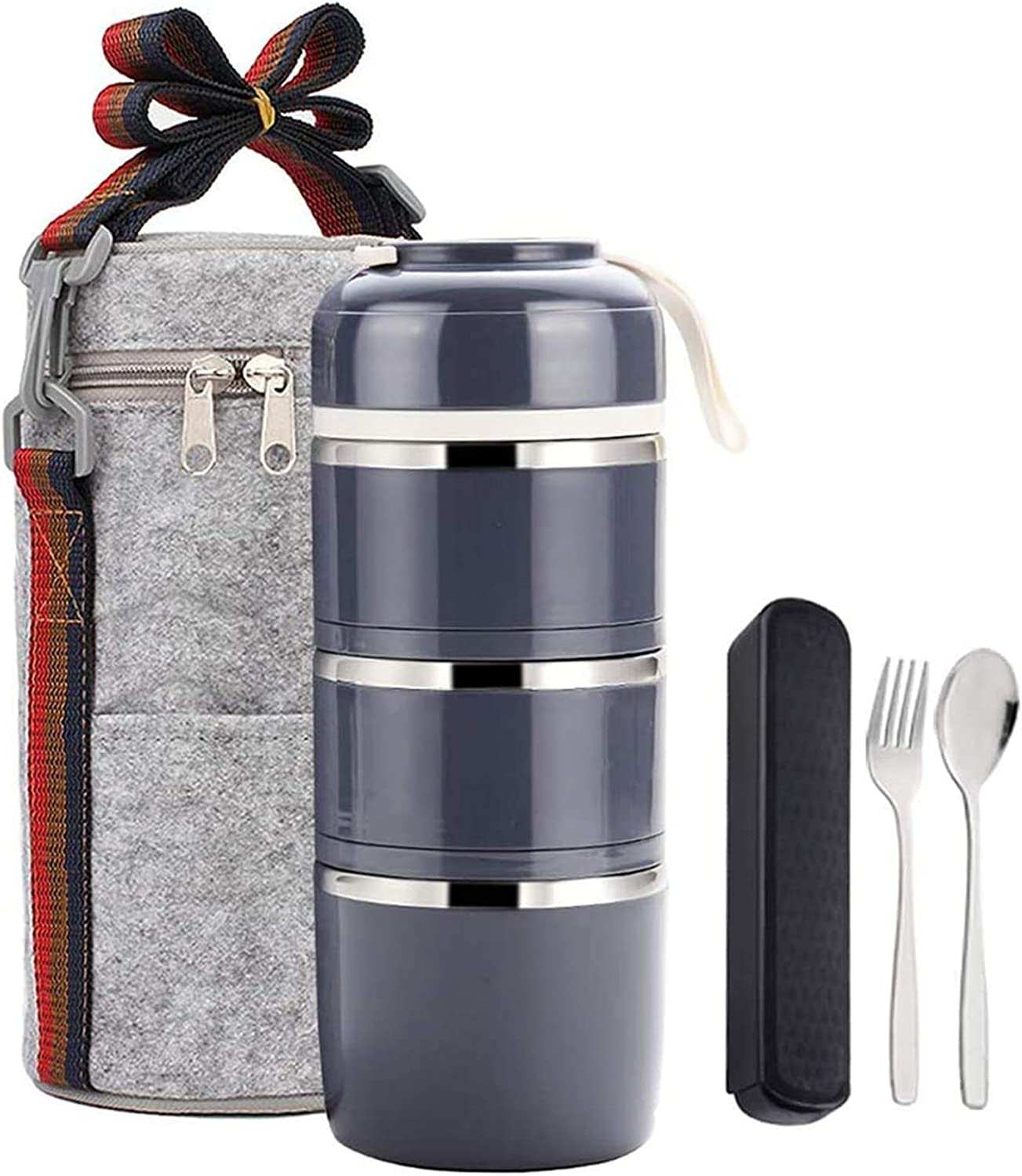 Bento Lunch Box Stackable Lunch Containers with Insulated Lunch Bag and Portable utensil,Tiffin Lunch Box 100% Leakproof Lunch Containers for Adults Men Office(3Tier,Grey)