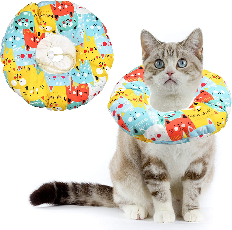 AvoDovA Collar de Recuperación para Mascotas, Collar Isabelino Gato Perro, Ajustable Collar de Protección para Mascotas, Collar de Gatito Gato Elizabeth, Collar Suave para Anti-mordida (M)