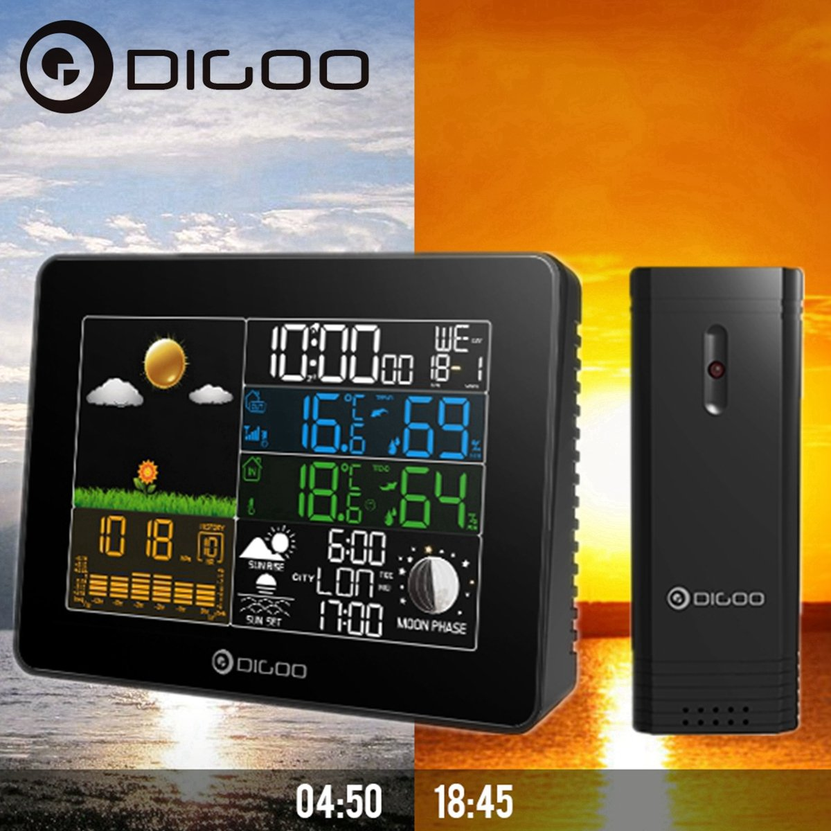 Digoo Wireless Full Color Hygrometer Thermometer Digital Weather Forecast Sensor Wolifui DIGOOWolifui158