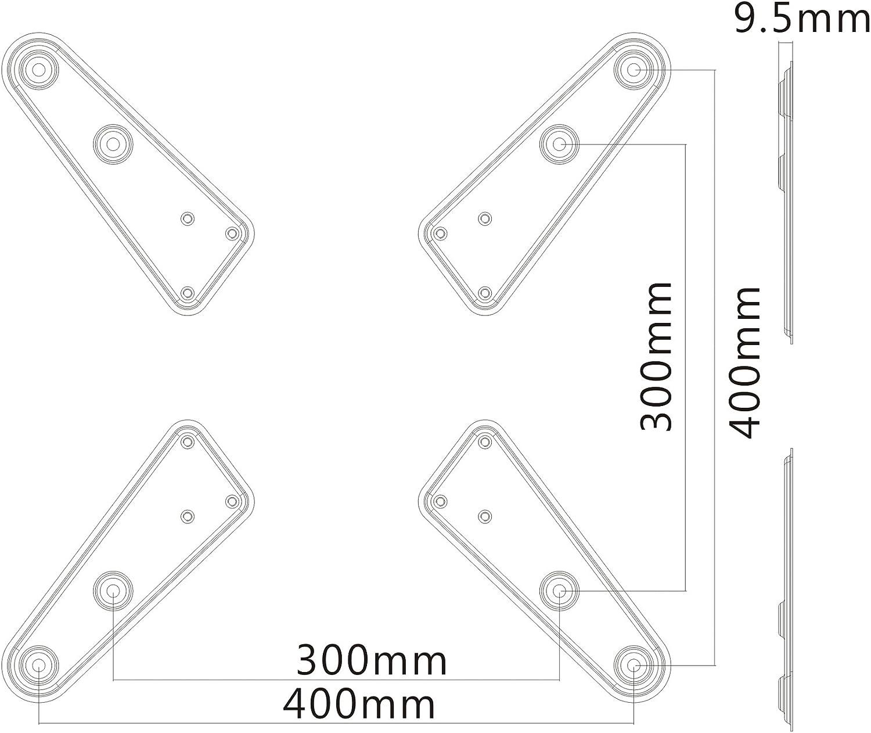 30 kg max ingrandisce VESA 50x50 fino a 400x200 PureMounts ADAPT-B Piastra adattatore VESA universale per allargare le distanze VESA nero