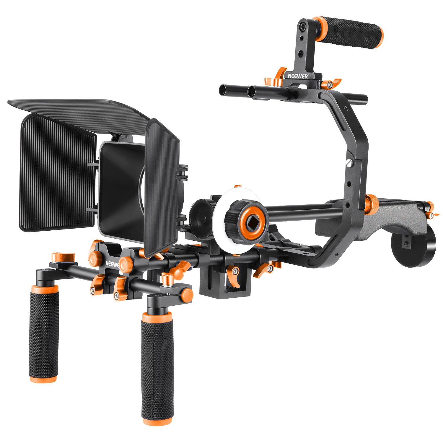 Neewer Film Movie System Kit Video Making System for Canon/Nikon/Sony and other DSLR Cameras, includes:(1) C-shaped Bracket+(1) Handle Grip+(2)15mm Rod+(1) Matte Box+(1) Follow Focus+(1) Shoulder Rig 10086749