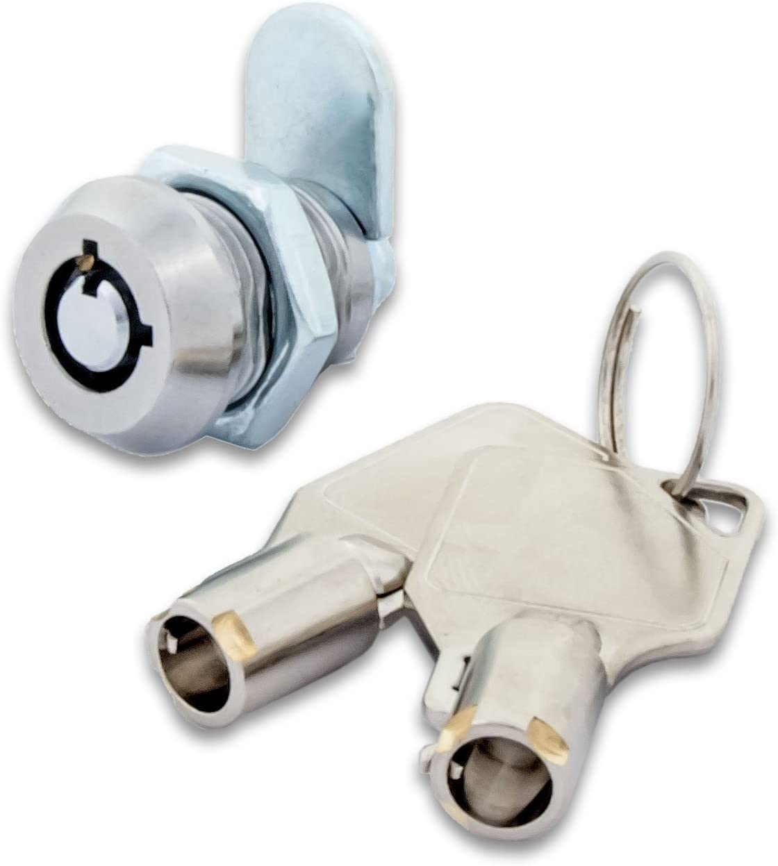 "FJM Security 2200AL-KA Miniature Tubular Cam Lock with 1/2"" Cylinder and Chrome Finish, Keyed Alike"