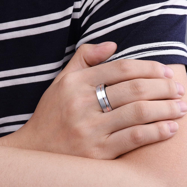 Three Keys Jewelry 7mm White Tungsten Wedding Ring 18K Rose Gold ...