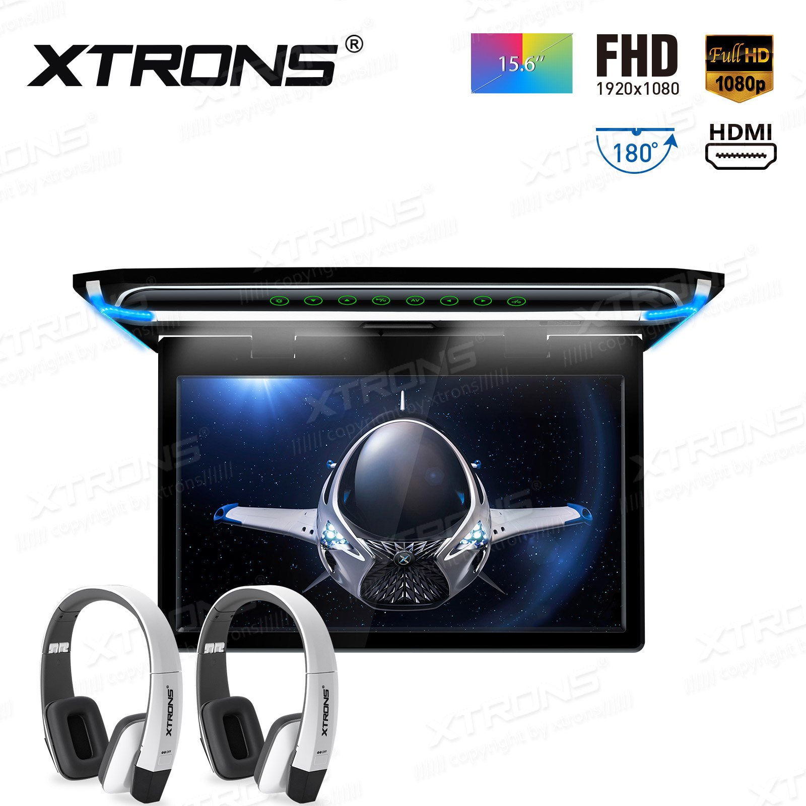 XTRONS 15.6 Inch Ultra-Thin FHD Digital TFT Screen 1080P Video Car Overhead Player Roof Mounted Monitor HDMI Port White New Version IR Headphones