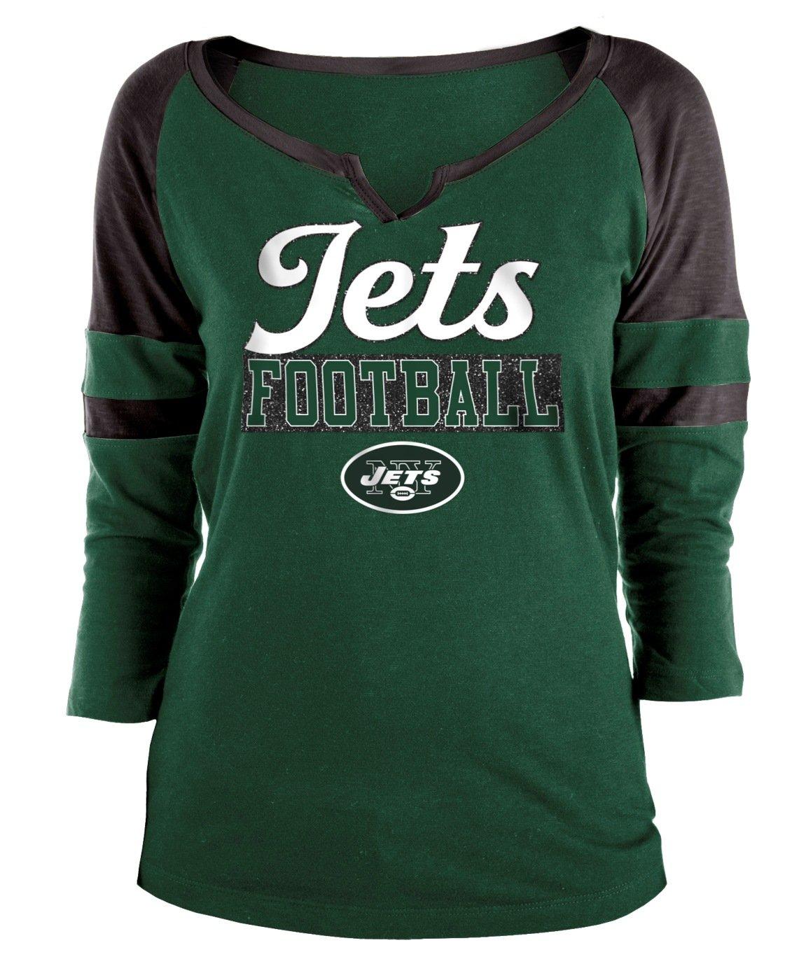 New Era New York Jets レディース NFL オフセンス 3/4袖 ラグランシャツ Medium  B07DPV65SV