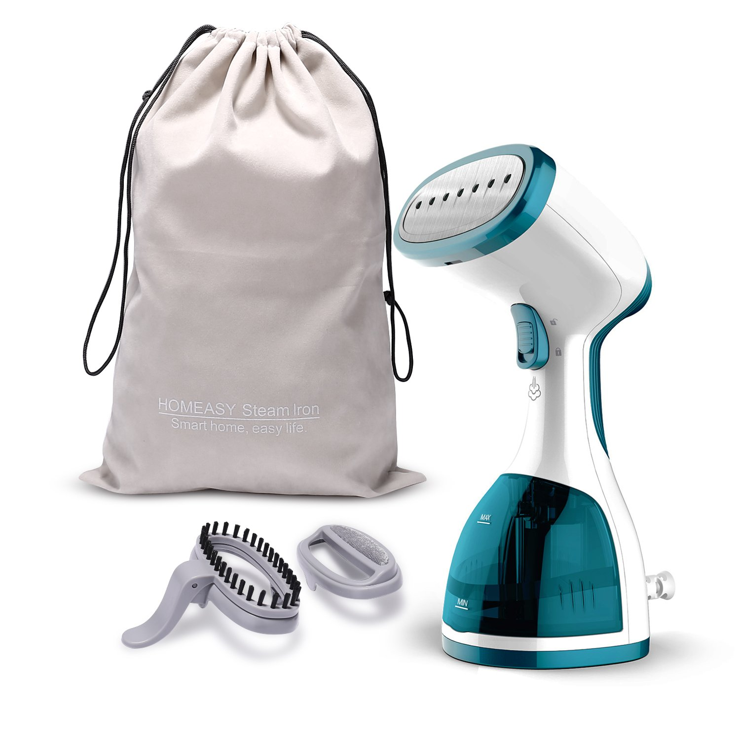 Small Satisfaction Guarantee homeasy Clothes Garment 5 in 1 Handheld Fabric Steamer Wrinkle Remover with Fast Heat-up Function for Home and Travel Green