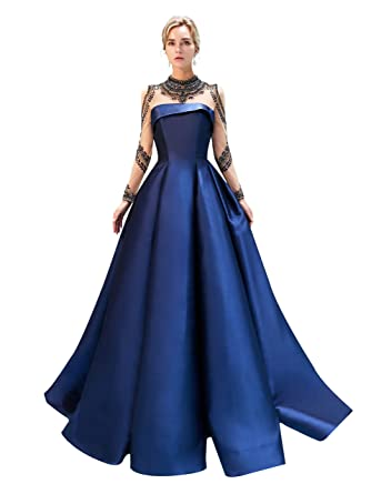 PROMNOVAS Crystal Luxurious Prom Gowns Mermaid Long Evening Dresses Navy  Blue f0857aac5195