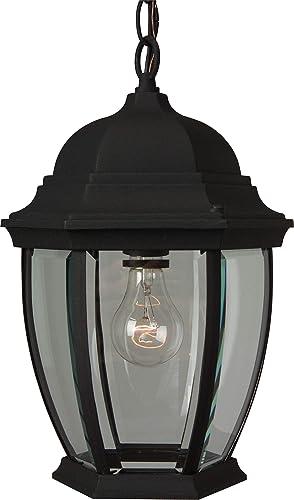 Craftmade Z281-TB Bent Glass Outdoor Pendant Lighting, 1-Light 100 Watt 10 W x 15 H , Matte Black