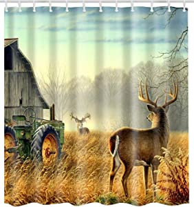 BROSHAN Shower Curtain Country Theme Nature Tree Animals Deer Autumn Scene Farmhouse Polyester Waterproof Fabric Bathroom Decor Set with Hooks 72 x72 Inch