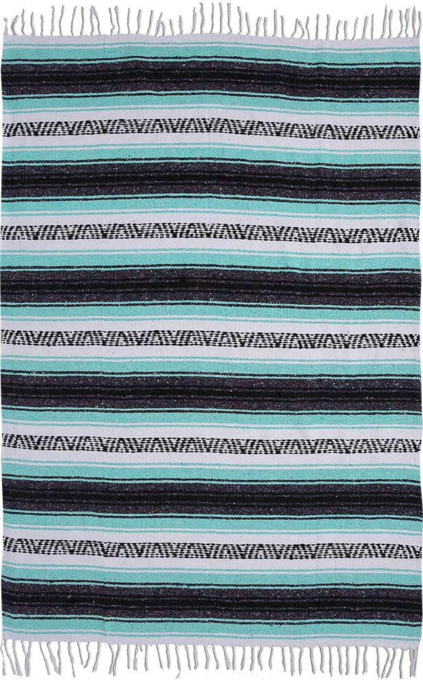 El Paso Designs Genuine Mexican Falsa Blanket - Yoga Studio Blanket, Colorful, Soft Woven Serape Imported from Mexico (Cool Mint & Gray) by El Paso Designs (Image #8)
