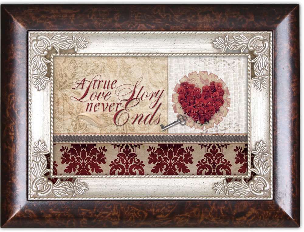 Cottage Garden A True Love Story Never Ends Red Burlwood Jewelry Music Box Plays Unchained Melody