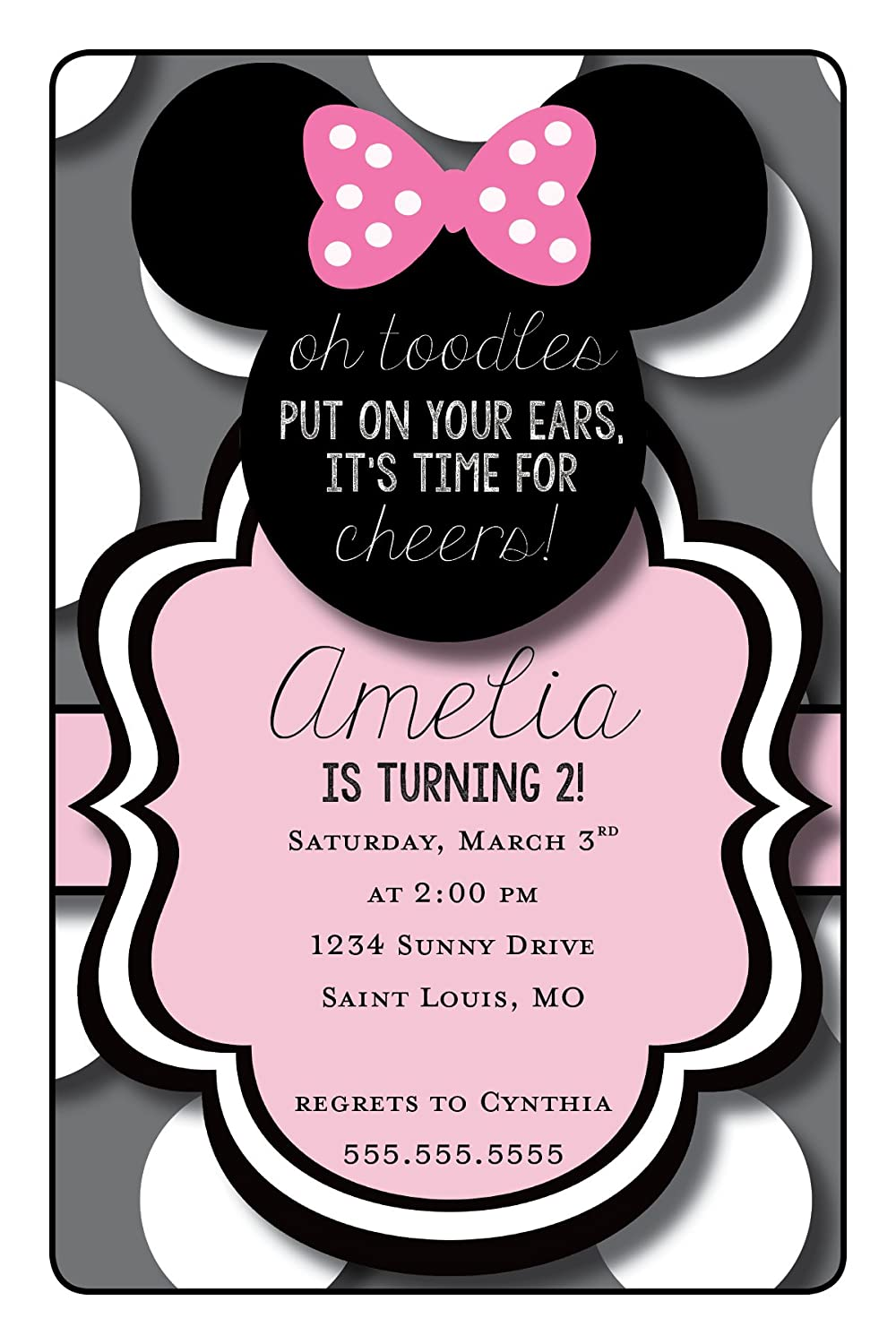 Amazon Minnie Mouse Birthday Party Invitation
