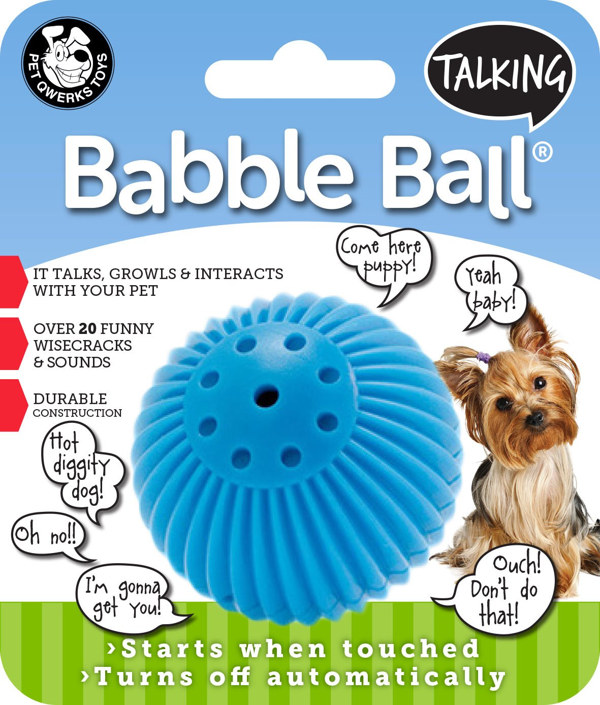Pet Qwerks Talking Babble Ball Interactive Dog Toy, Wisecracks and Makes Funny Sounds When Touched