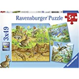 Ravensburger 08050, Animals 3 x 49 Piece Puzzles in a Box, 3 x 49 Piece Puzzles for Kids, Every Piece is Unique, Pieces Fit Together Perfectly
