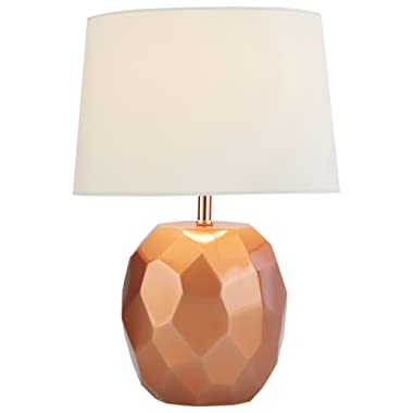 Rivet Copper Geometric Table Lamp, With Bulb, 11.5  x 11.5  x 16.8 , Copper
