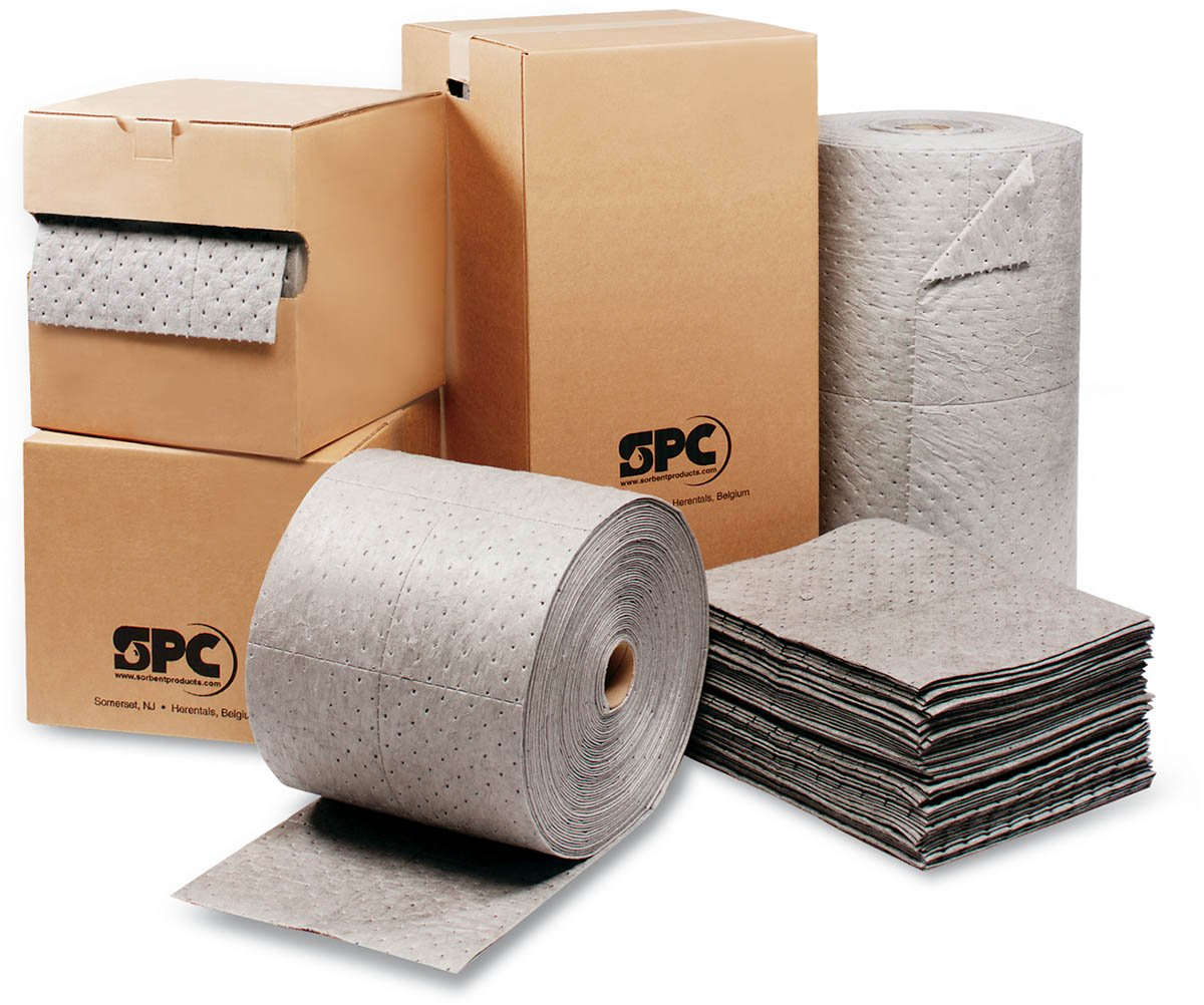 Brady USA MRO350-DP 30'' x 150' SPC MRO Plus Gray 3-Ply Meltblown Polypropylene Dimpled Double Perforated Medium Weight Sorbent Roll, Perforated Every 15'' And Up The Center, 15.34 fl. oz.
