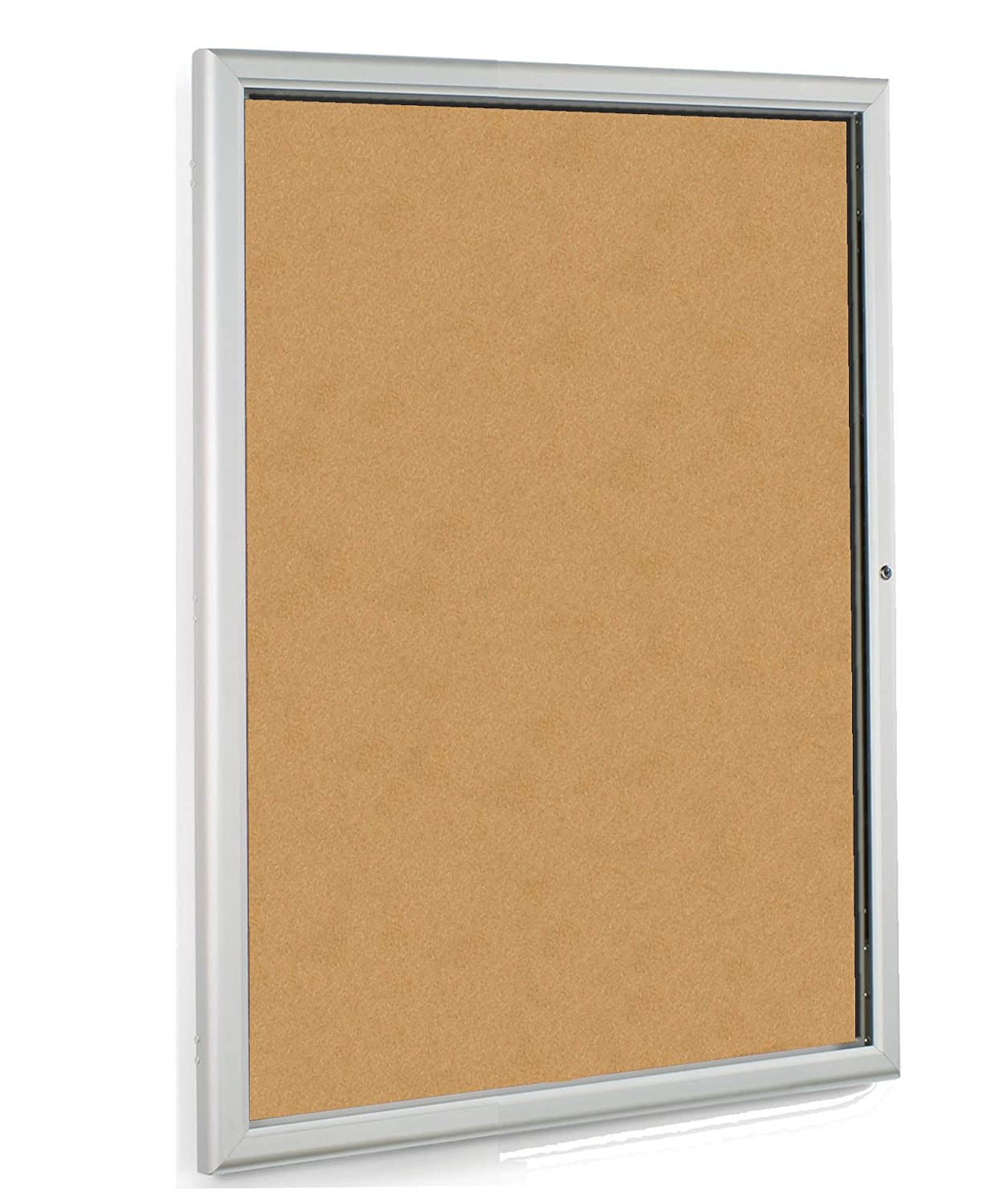 Displays2go 24 x 36 Inches Enclosed Bulletin Board with Silver Aluminum Frame with Locking Swing-Open Door (CKSBTW2436) George Patton Associates