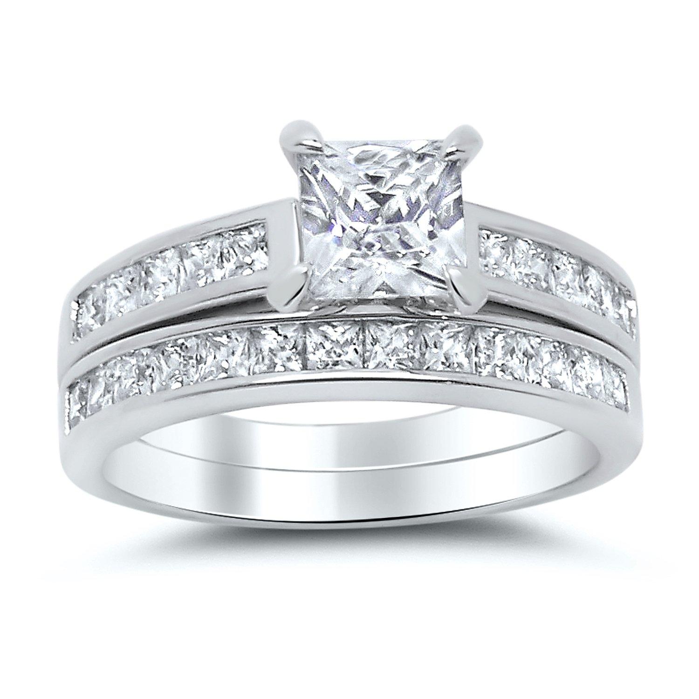 Sterling Silver Princess Cut Bridal Set Engagement Wedding Ring Set (Size 6)