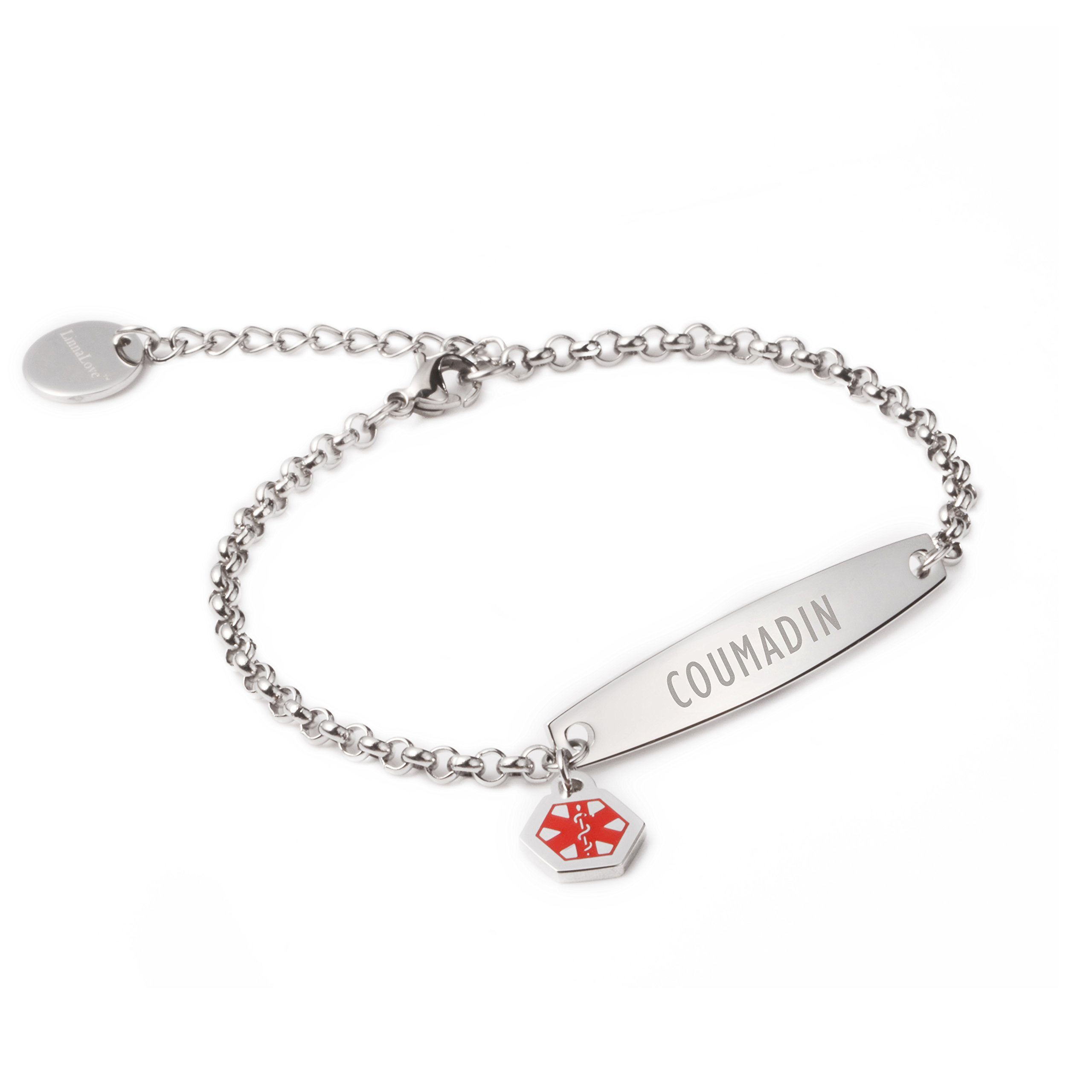 linnalove-Pre-Engraved Simple Rolo Chain Medical id Bracelet for Women & Girl-COUMADIN