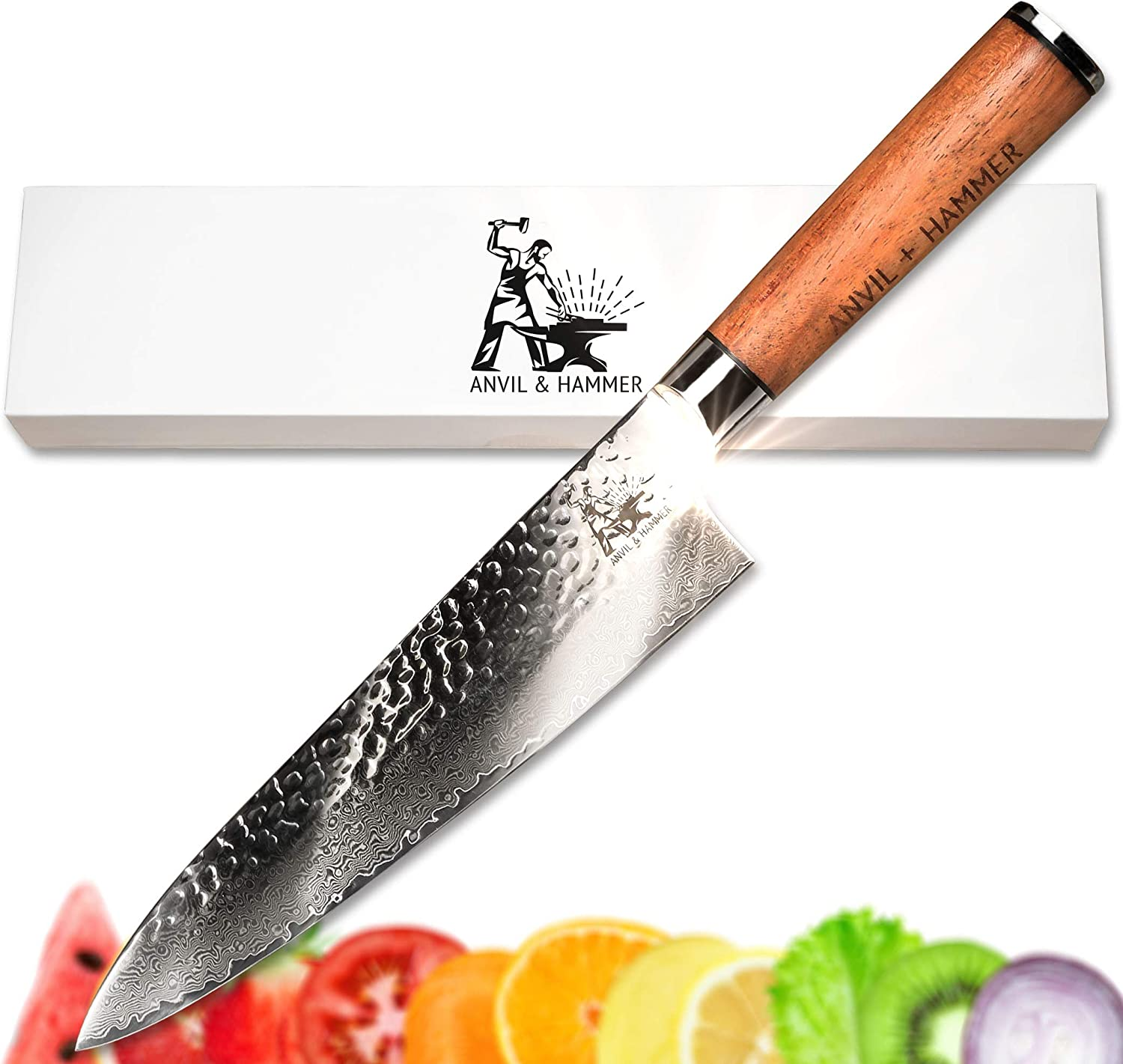 "Damascus Chef Knife - Kitchen Knife - 67 Layer 8"" VG-10 Japanese Super Steel Hammer Finish Blade - Full Tang African Rosewood Handle - Presented in Gorgeous Gift Box by Anvil and Hammer"
