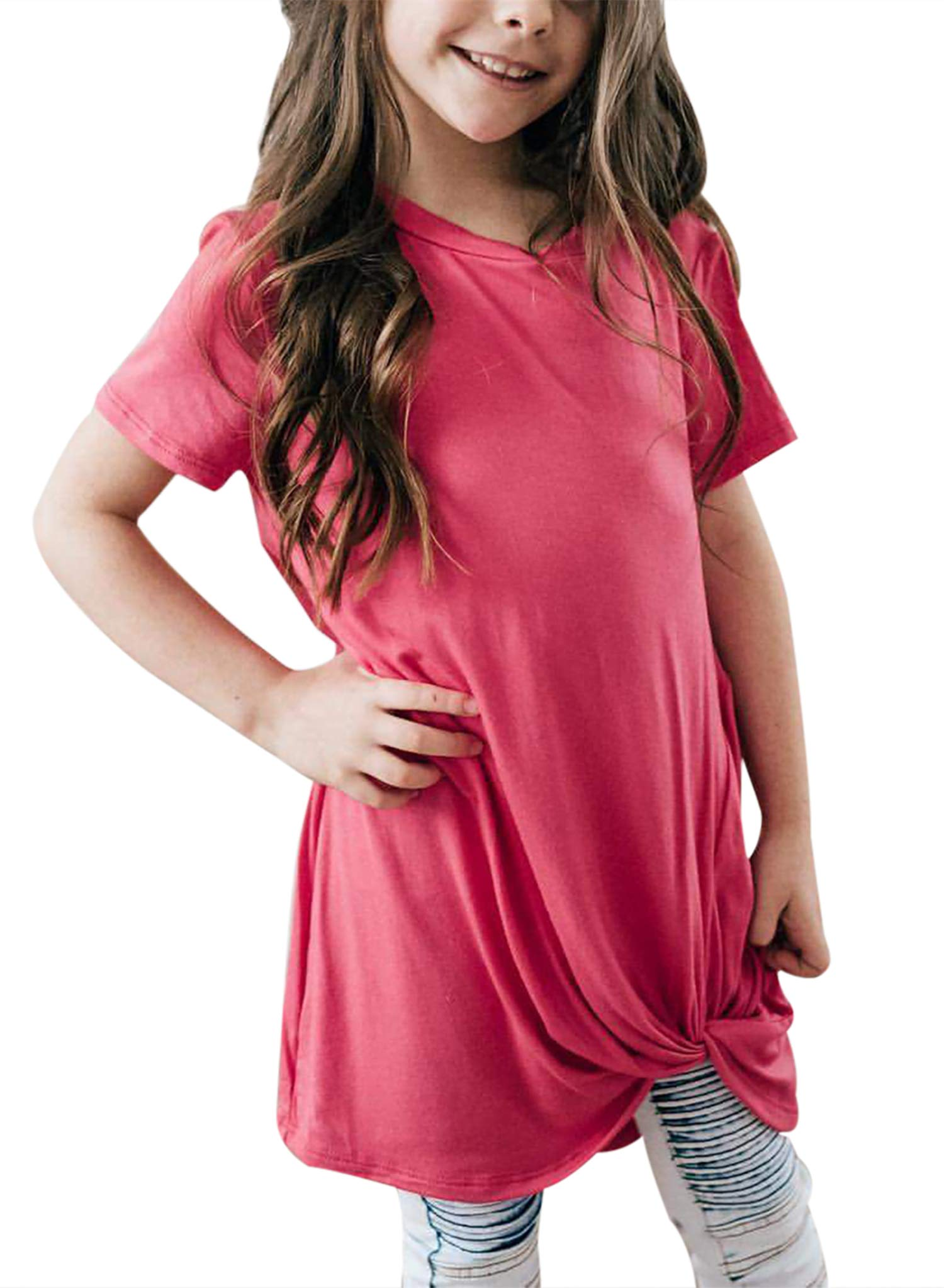Bulawoo Girls Clothing Casual Short Sleeve Summer Tops Little Girls Knot Front Fashion Tee Shirts Size 4-13 10-11 Years Rose Red