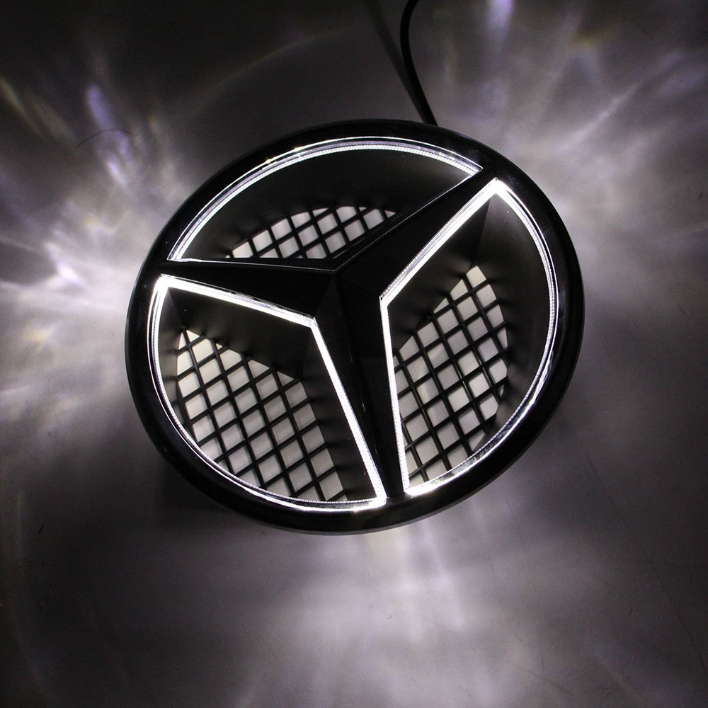 Azisen Car Front Grille Star Emblem LED Logo for Mercedes Benz 2006-2013 Illuminated LED Badge Light White