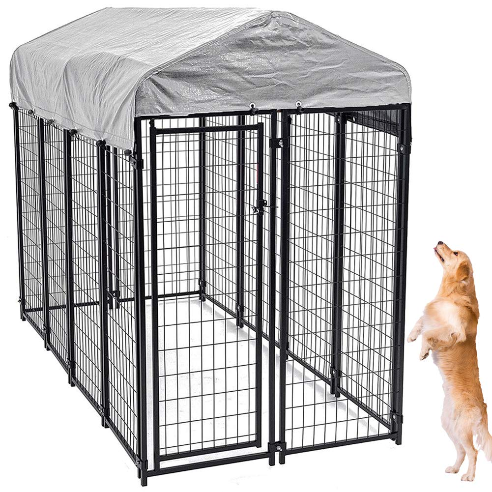 Large Dog Kennel Outdoor, Extra Large Dog Crate Metal Welded Pet Cage Heavy Duty Playpen with UV Protection Waterproof Dog Kennel Cover, Keeps Pet Cool, Warm, Dry, Comfortable - 6'H x 8'L x 4'W by Bigacc