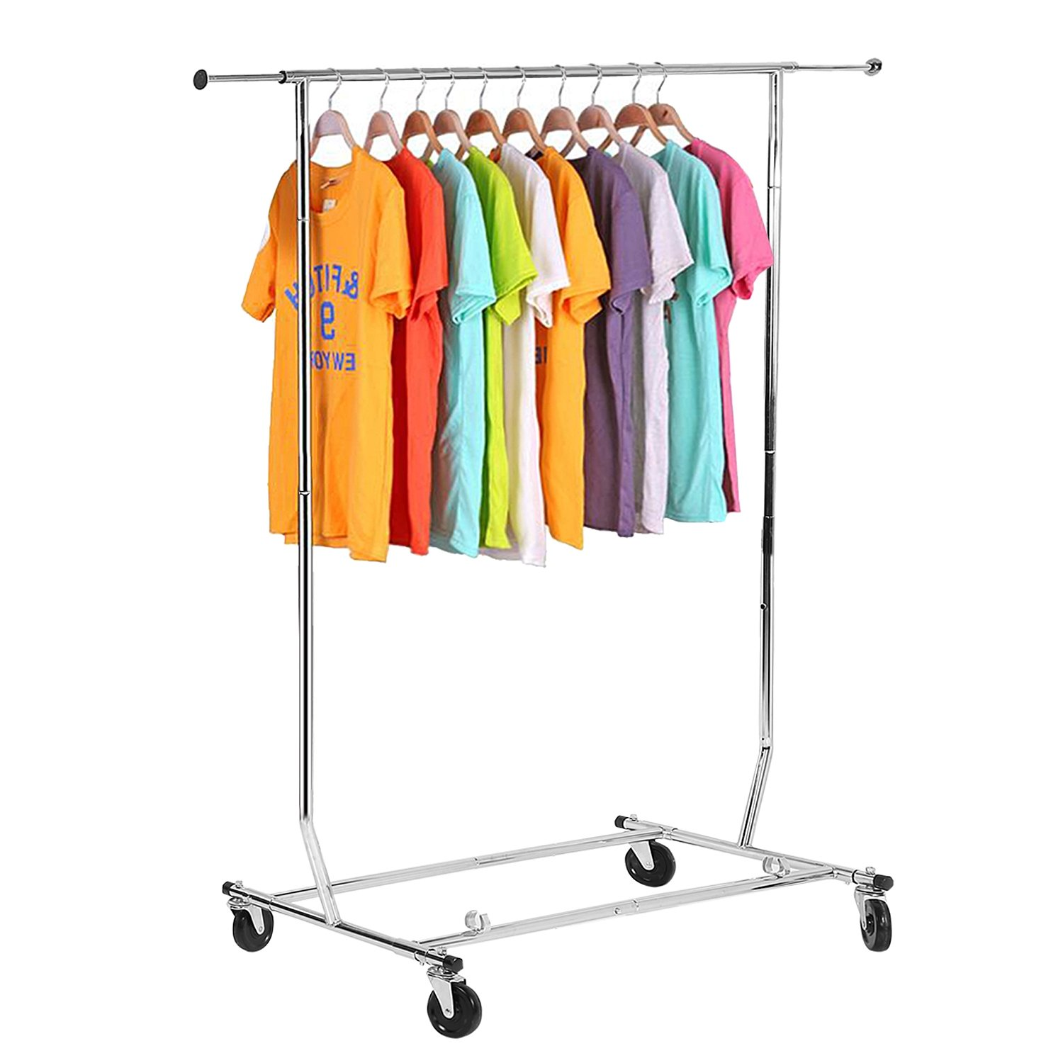 Adjustable Rolling Steel Garment Rack Portable Heavy Duty Clothes Hanger Organizer with 4 Wheels for Home and Commercial Use(US Stock)