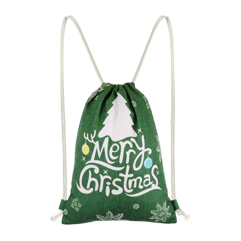 miomaoクリスマスSackpackジムDrawstringバックパックトナカイSnowflackギフトバッグ B0772HZM8H Hunter Green Ground Tree Hunter Green Ground Tree
