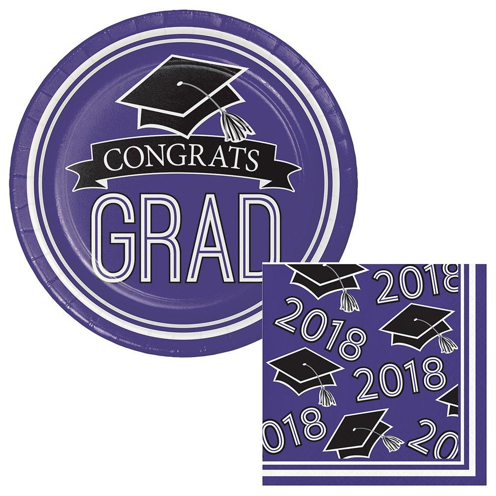 School Colors Graduation Dessert Plates & Napkins Party Kit for 18 (Purple Plates & Purple Napkins, Dessert)