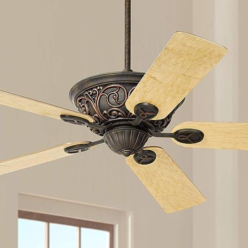 52″ Casa Contessa Vintage Ceiling Fan Bronze Copper Maple Wood Blade