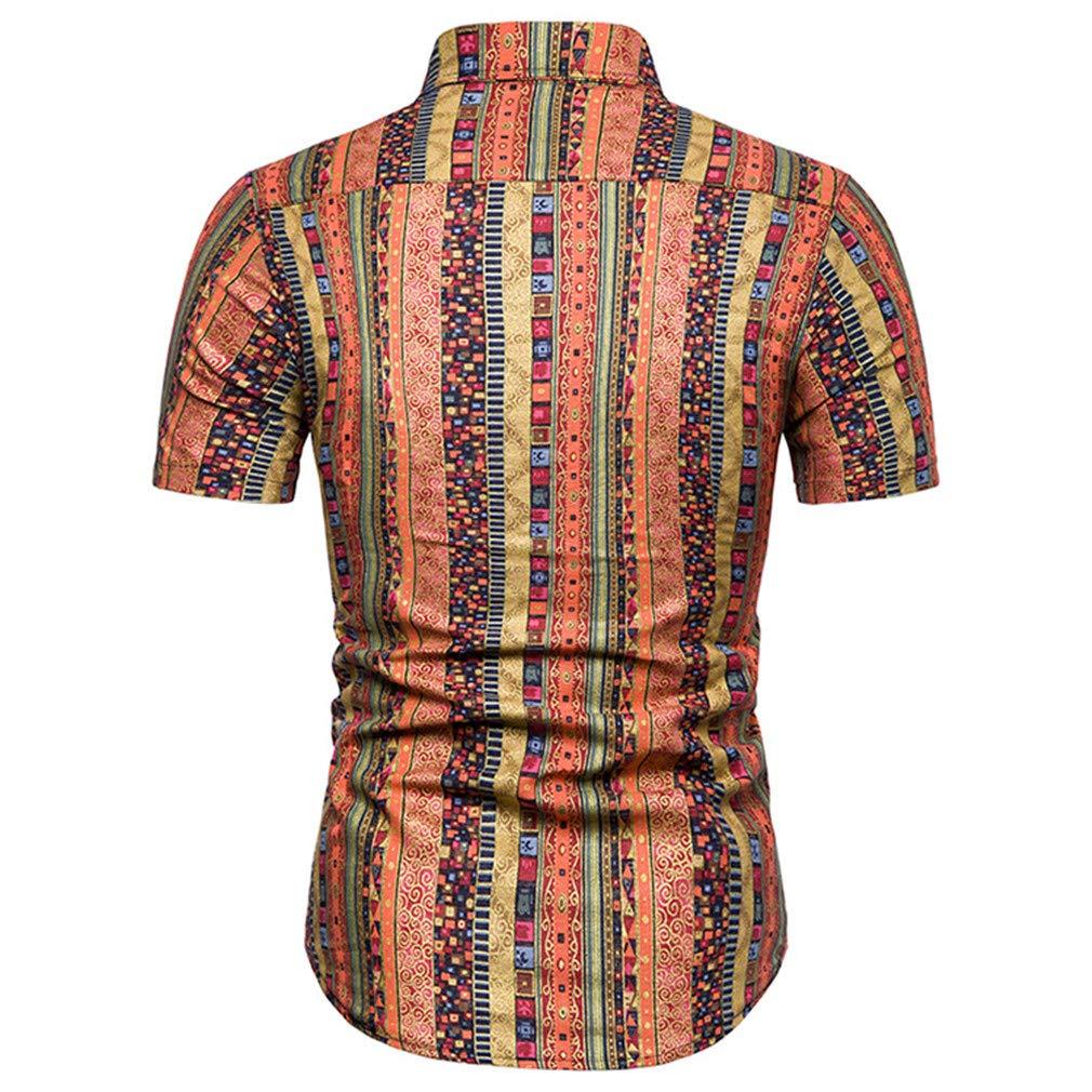 LIKDJNXD Summer Mens Casual Linen Short Sleeve Fashion Striped Multicolor Slim Fit Hawaiian Shirt